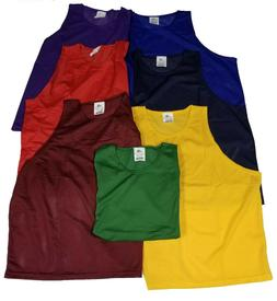 12 PACK Pinnies Adult Scrimmage Vests Soccer Brand New 7 Col