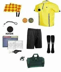 12 Piece Soccer Package Referee Jersey Short Flag Whistles D