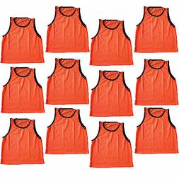 12 SCRIMMAGE VESTS PINNIES SOCCER YOUTH Orange ~ NEW!