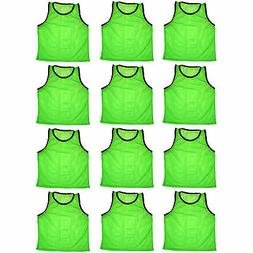 12 SCRIMMAGE VESTS PINNIES SOCCER YOUTH GREEN ~ NEW!