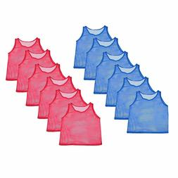 12 Youth Scrimmage Practice Jerseys Team Pinnies Sports Vest