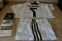 18-19 Home RONALDO  Kids Soccer Jersey, Shorts, socks size 2