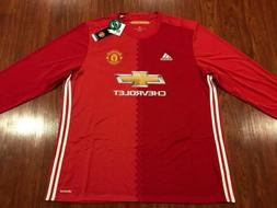 2016-17 Adidas Manchester United Men's Home Long Sleeve Socc