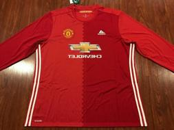 2016-17 Adidas Manchester United Men's Long Sleeve Home Socc