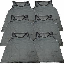 6 Pk YOUTH GIRLS Grey Scrimmage Vests Pinnies Team Sports So