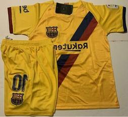Barcelona Away Messi kids Soccer Jersey Youth Boys Set Child