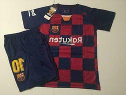 Barcelona Home 2019 Messi kids Soccer Jersey Youth Boys Set