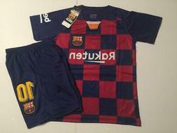 Barcelona Home Messi kids Soccer Jersey Youth Boys Set Child