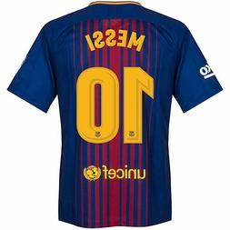 Barcelona Messi 10 2017-2018 Home Soccer Jersey Mens Long Sl