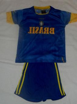BRASIL AWAY SOCCER KIDS SETS JERSEY & SHORT SIZE MEDIUM FOR