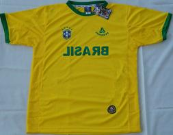 Brasil Brazil Home Yellow Soccer Jersey Short Sleeve Camisa