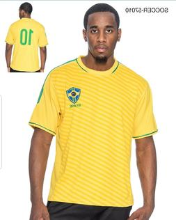 Brasil Brazil Men's Soccer Yellow With Stripes Jersey 2018 C