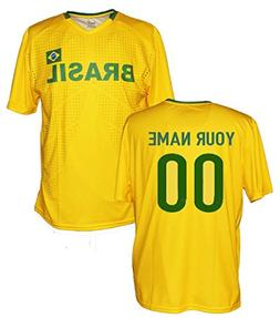 Custom Brazil Jersey Tee - Any Name & Number
