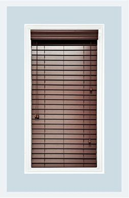 "Custom-Made Faux Wood Horizontal Window Blinds, 2"" Slats, Ch"