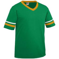 Youth Large Kelly Green Shirt, White/Gold Striped Sleeves 50