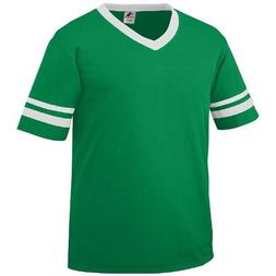 Adult Small Kelly Green Shirt/White Striped Sleeves 50/50 Po