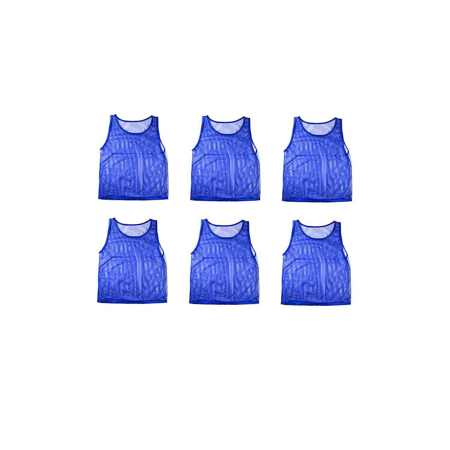 6 Blue Youth Scrimmage Practice Jerseys Team Pinnies Sports