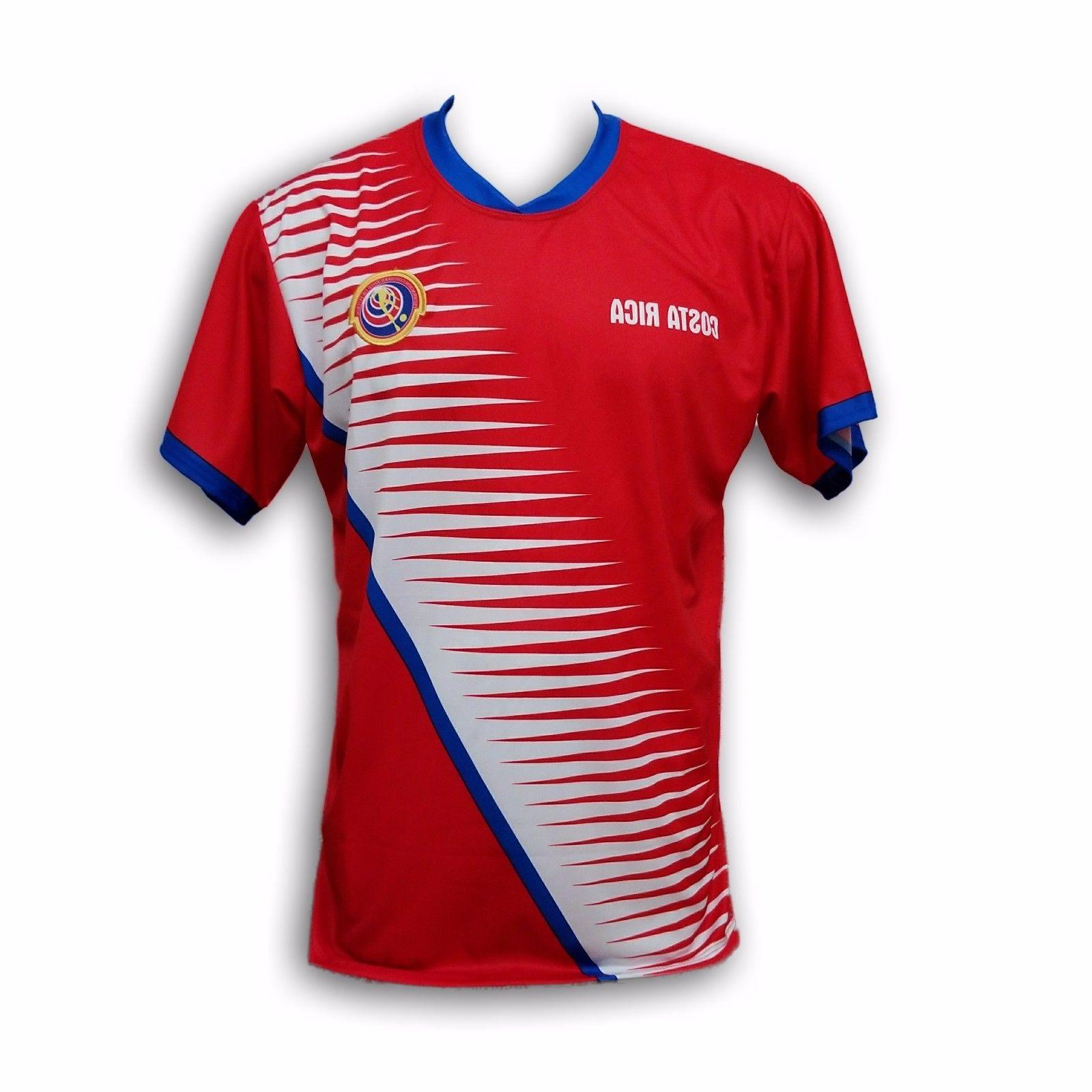 Costa Rica Men's Soccer Team Jersey Embroidered Logo 100% Po