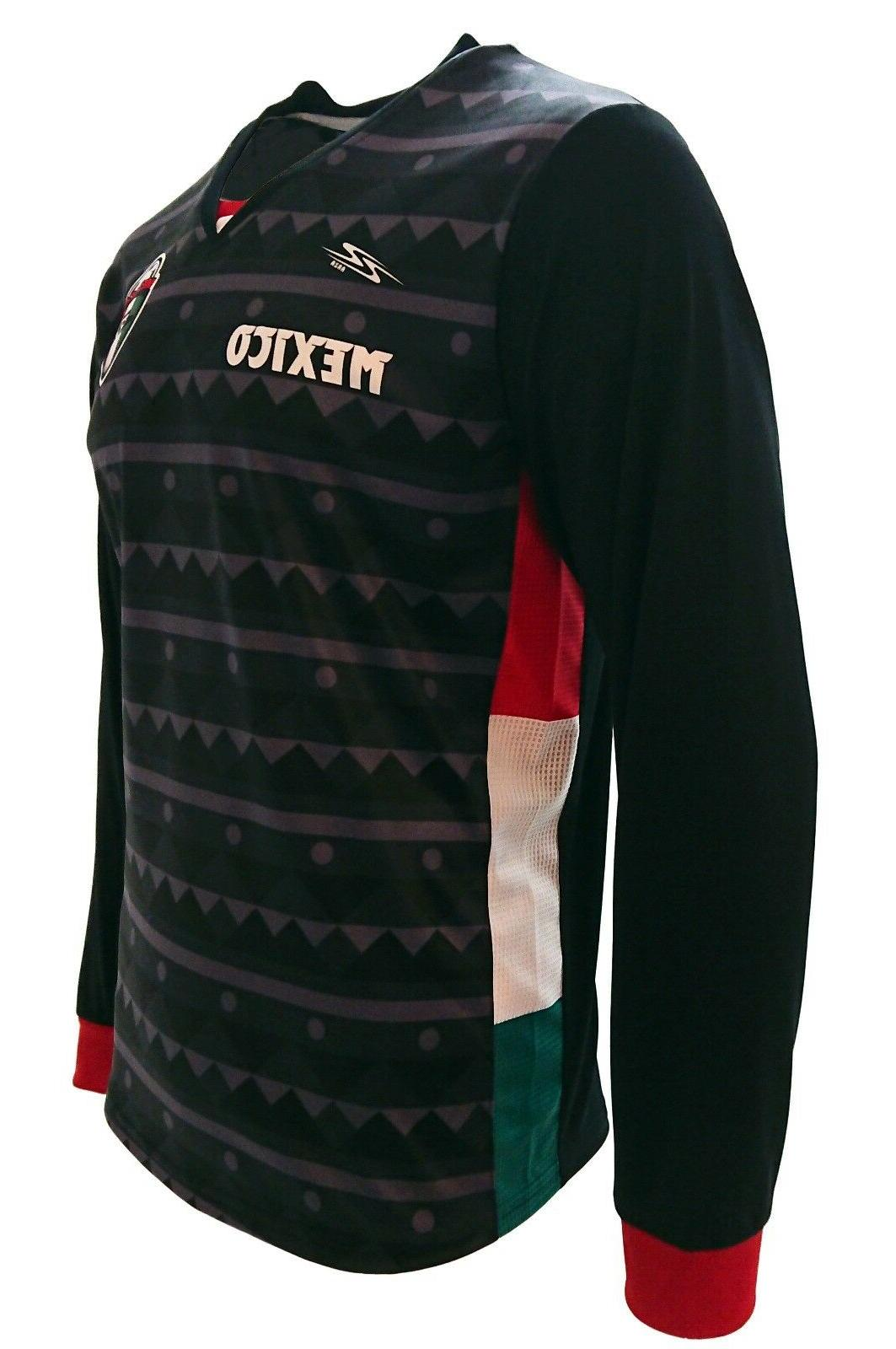 New Men's Mexico Arza Soccer Long Sleeve Black Polyester