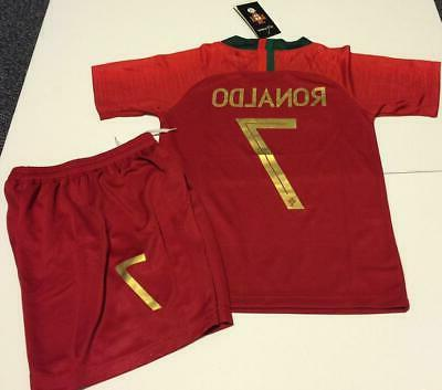 Portugal Home Ronaldo kids Soccer Jersey Youth Boys Set Chil