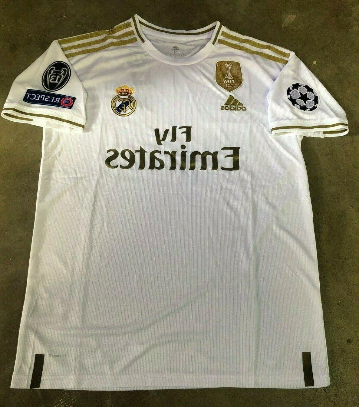 sports shoes 251c9 06ab6 Adidas Real Madrid Home Soccer Jersey 2019-2020 Champions Patches Sizes  white