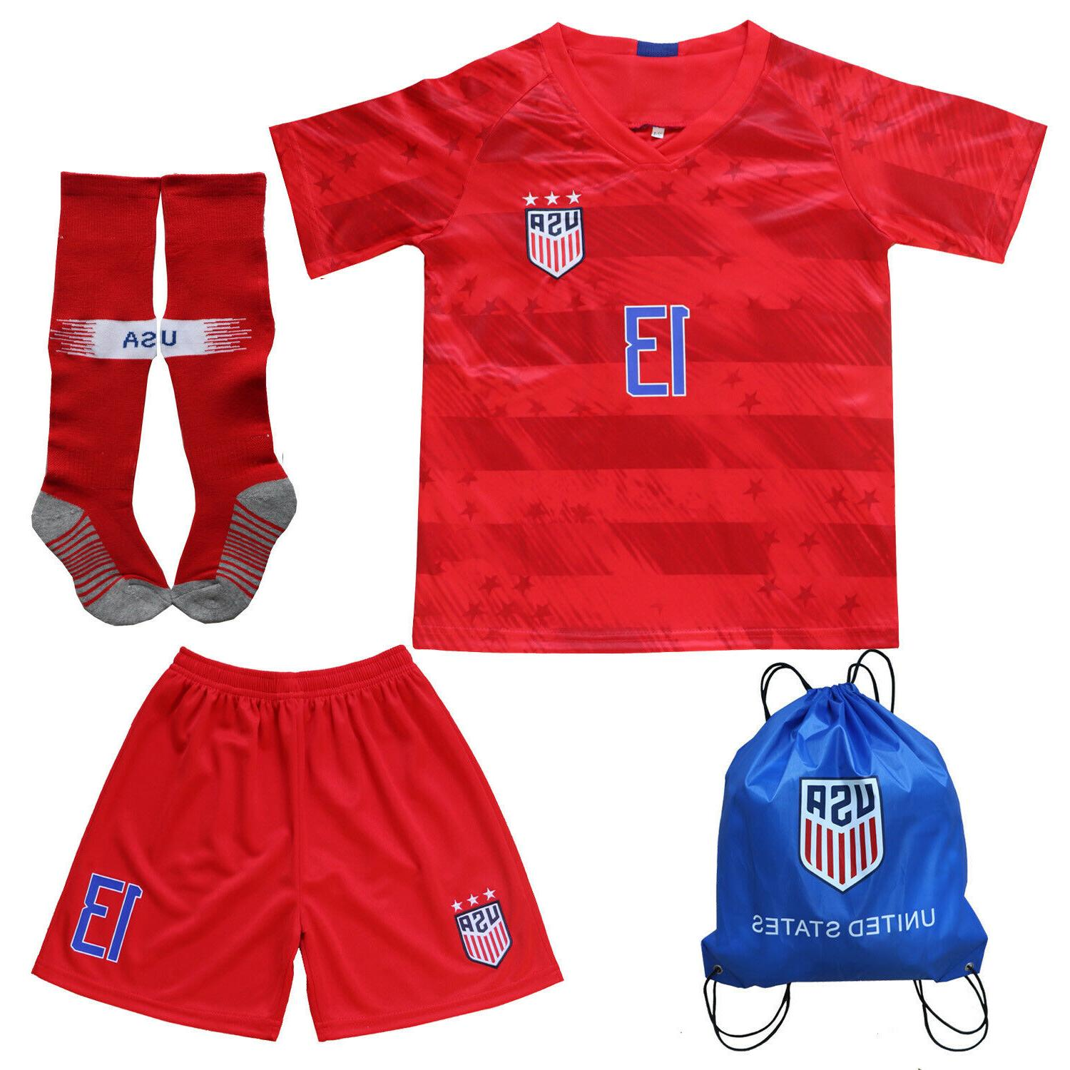 USA Kids Red Home Jersey & Shorts Socks Youth