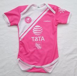 Club America Pink Baby Girl's Soccer Jersey Bodysuit Pañale