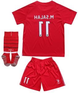 Liverpool Mo SALAH #11 Home Red Kids Soccer Jersey & Shorts