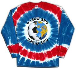 Long Sleeve USA Soccer One World Tie Dye T-Shirt Jersey-adul