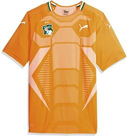 PUMA Men's Fif Ivory Coast Replica Jersey, Home Flame Orange