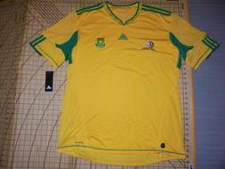 MENS 2XLARGE YELLOW/GREEN SOUTH AFRICA ADIDAS SOCCER JERSEY/