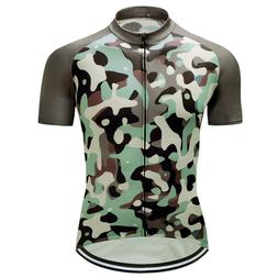 Mens Bike Team Road Camo Jersey Cycling Short Sleeve Tops Sh
