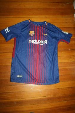 Messi Barca 2017 Home Blue and Garnet Soccer Jersey Youth XL