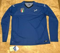 NEW 2018 PUMA Italy Blue Long Sleeve Soccer Jersey Adult Sz