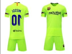 NEW BARCELONA AWAY GREEN #10 MESSI KIDS JERSEY + SHORTS YOUT