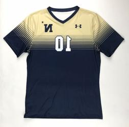 New Under Armour Men's L Soccer Navy Midshipmen SS V-Neck Je