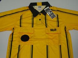 New REFGEAR Rec Soccer Referee Jersey Yellow and Black Strip