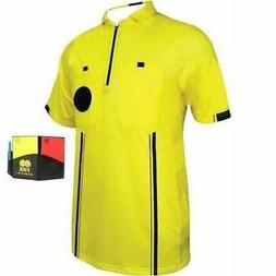 new style soccer pro referee jersey yellow