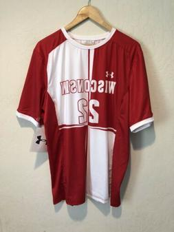 NEW Under Armour Wisconsin Badgers Soccer Jersey LARGE #22 S