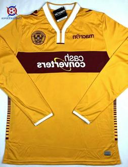 NWT MOTHERWELL 2014/15 Macron L L/S Home Soccer Jersey Footb
