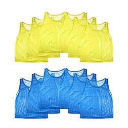 12pc Nylon Mesh Pinnies Jersey Sports Practice Vest Youth Ch