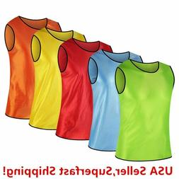 Pack of 6 & 12  Soccer jersey Bibs Adult Sports team Scrimma