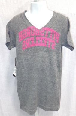 Pittsburgh Steelers Football Short Sleeve T-Shirt Gray & Pin