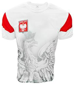 Polska Eagle Athletic Soccer Jersey Shirt White Large