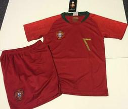Portugal Home Ronaldo kids Soccer Jersey Youth Boys Set Shir