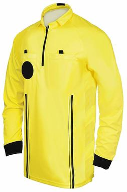 1 Stop Soccer Referee Soccer Jersey Long Sleeves Yellow Red
