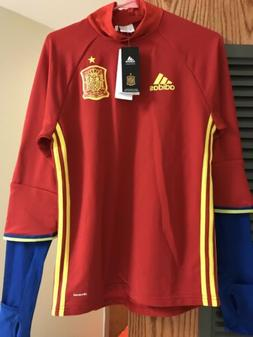 Spain Soccer Jersey - Adidas - Small - Training Sweat - Red
