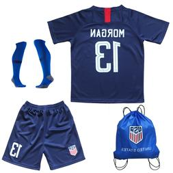 USA Alex Morgan #13 Kids Blue Home Soccer Jersey & Shorts So
