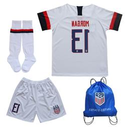 USA Alex Morgan #13 Kids White Home Soccer Jersey & Shorts S